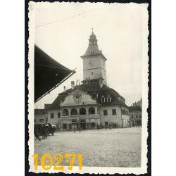 Brassó (Brasov), Erdély, szász, városháza, főtér, piac, 1930-as évek, Románia, Eredeti fotó, papírkép.