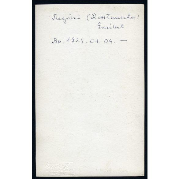 Kossak utóda Komáromi műterem, Regőczi (Rosstauscher) Erzsébet, lány, tánc, népviselet, nemzeti, művész, 1924, 1920-as évek, eredeti fotó, papírkép.