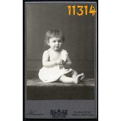 Hunnia műterem, kislány portréja, Budapest, gyerek, 1910-es évek, Eredeti CDV, vizitkártya.