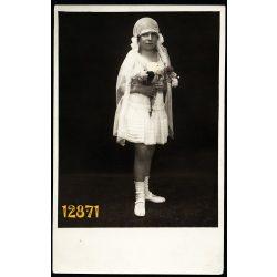 Lantosi műterem, elsőáldozó, kislány, ünnep, vallás, egyház, Budapest, 1930-as évek, Eredeti fotó, papírkép.