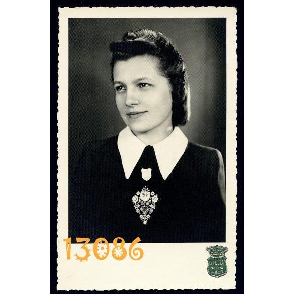 Stella műterem, Pécs, elegáns hölgy portréja, divat, 1944, 1940-es évek, Magyarország, Eredeti fotó, papírkép.