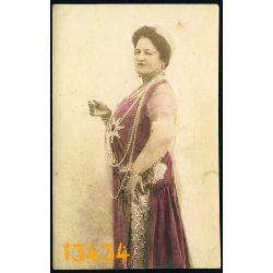 Elite műterem, Kaposvár, kézzel színezett fotó, elegáns hölgy gyöngysorral, ékszer, Cegléd, 1929, 1920-as évek, eredeti fotó, papírkép.