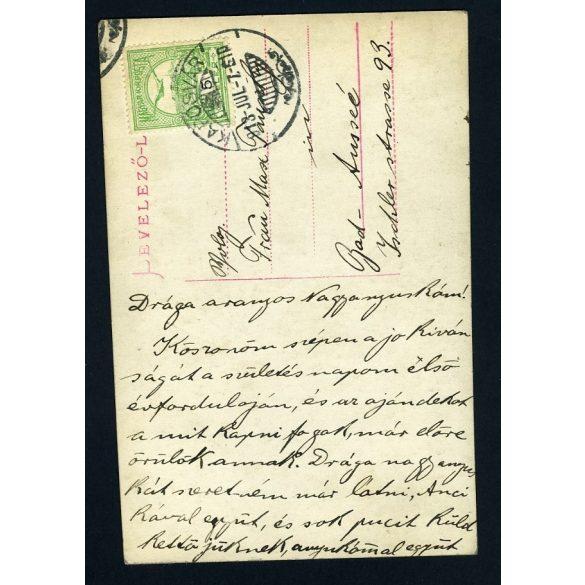 Kislány karikával, játék, műterem, levelezőlap, nagymamának Bad Aussee-be, Kaposvár, 1913, Eredeti fotó, papírkép.