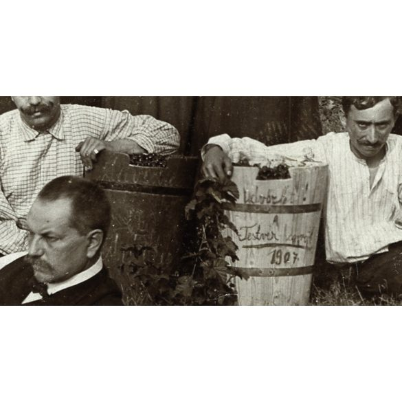 Üdvözlet Testvér-hegyről, Óbuda, cseresznyeszüret, bor, vicces, bajusz, fehér zászló,  1907, Eredeti fotó, papírkép.