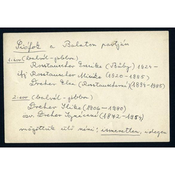 a Dréher és a Rosstauscher család tagjai a Balaton partján, SIÓFOK, fürdőruha, nyaralás, 1920-as évek, eredeti fotó, papírkép.