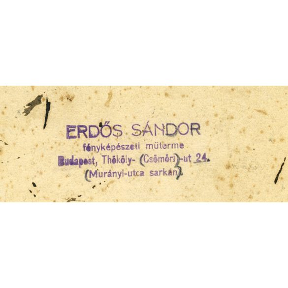 Erdős Sándor műterem, Budapest, család, elegáns pár gyerekekkel, játék, trombita, 1910-es évek, Eredeti nagyobb méretű kabinet fotó.