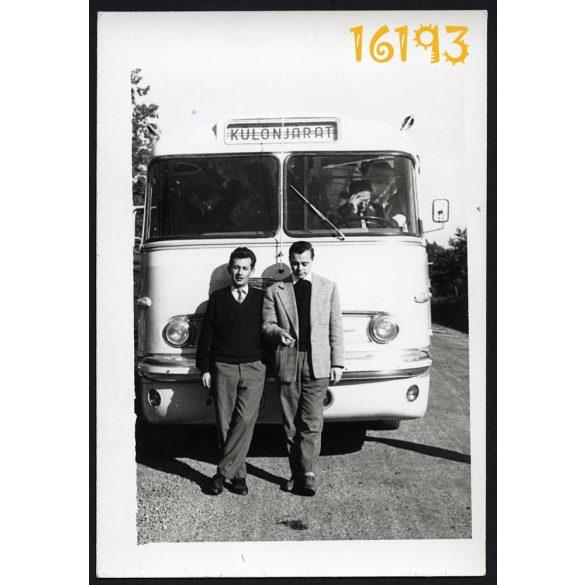 Ikarus autóbusz, jármű, közlekedés, különjárat, sofőr  1960-as évek, Eredeti fotó, papírkép.