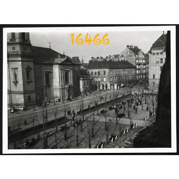 Budapest, VIII. kerület, Horváth Mihály tér, Baross utca, templom, 1939. III. 30, Eredeti fotó, papírkép.