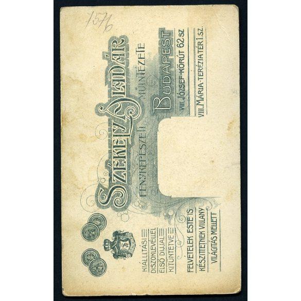 Eredeti fotó, CDV, vizitkártya. lány virággal, elsőáldozó, imakönyv, ünnep, vallás, Székely Aladár műterme 1900-as évek, Budapest