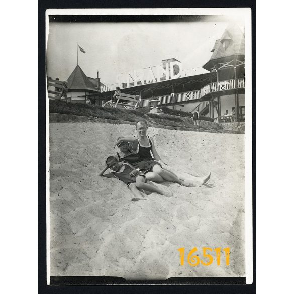 Budapest, Duna strandfürdő, Óbuda, fürdőruha, városkép, 1920-as évek, Eredeti fotó, papírkép.