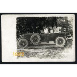 Budapest, Hűvösvölgy, szabadtéri műterem, vicces, elegáns hölgyek, papír autó, kirándulás, 1930, Eredeti fotó, papírkép.