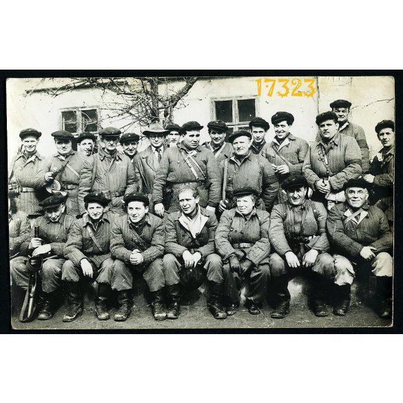 Munkásőrök, szocializmus, fegyveres testület, géppuska, Kádár-kor, 1960, Eredeti fotó, papírkép.