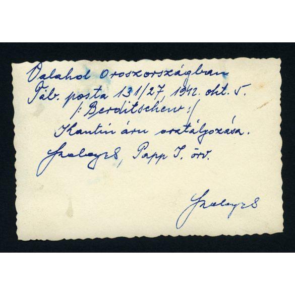 Katona, 2. világháború,  Szovjetunió, Berditschew, kantin, orosz front, egyenruha, 1942, Eredeti fotó, papírkép.