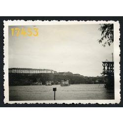 Pétervárad, Újvidék, felrobbantott Duna híd, 2. világháború, Vajdaság, 1940-es évek, Eredeti fotó, papírkép.