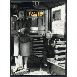 40-es villamos, kalauznő, Budapest, Pestimre, Pestlőrinc, jármű, közlekedés, 1960-as évek, Eredeti fotó, papírkép.