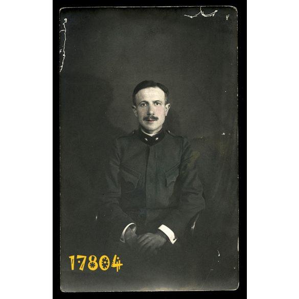 'Édes Apám az 1914-es háborúból', katona, egyenruha, 1. világháború, 1910-as évek, Eredeti kézzel színezett fotó, papírkép.