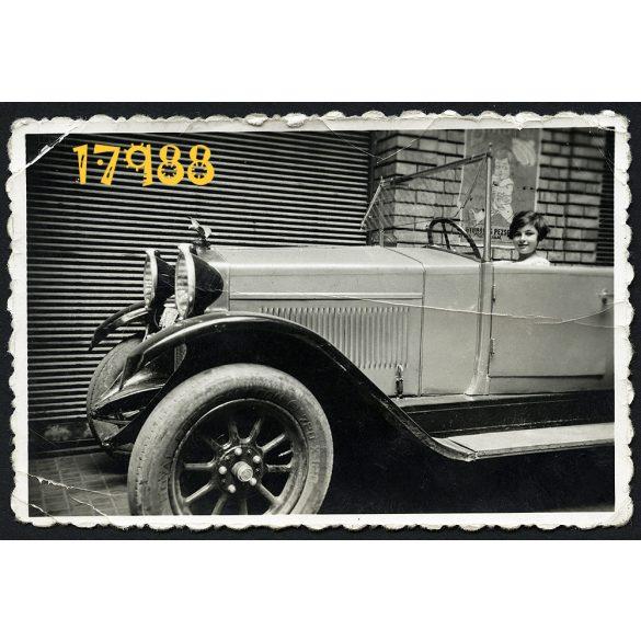Kalocsai Zsuzsi Fiat Torpedo autóban, jármű, közlekedés, kabrió, plakát, 1935, 1930-as évek, Eredeti fotó, papírkép.