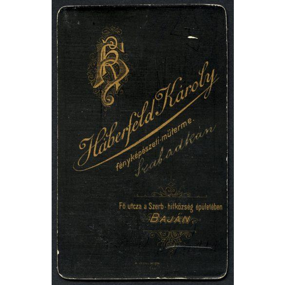 Háberfeld műterem, Szabadka, férfibarátok ölelkezve, kéz a kézben, Délvidék, 1890,  1890-es évek, Eredeti CDV, vizitkártya fotó.