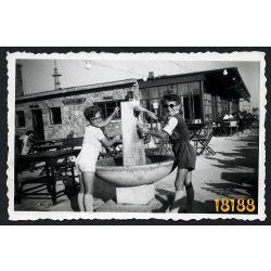 Szabadság-hegy, Széchényi-hegy, úttörővasút végállomás, közlekedés, utasellátó, étterem, 1960-as évek, Eredeti fotó, papírkép.
