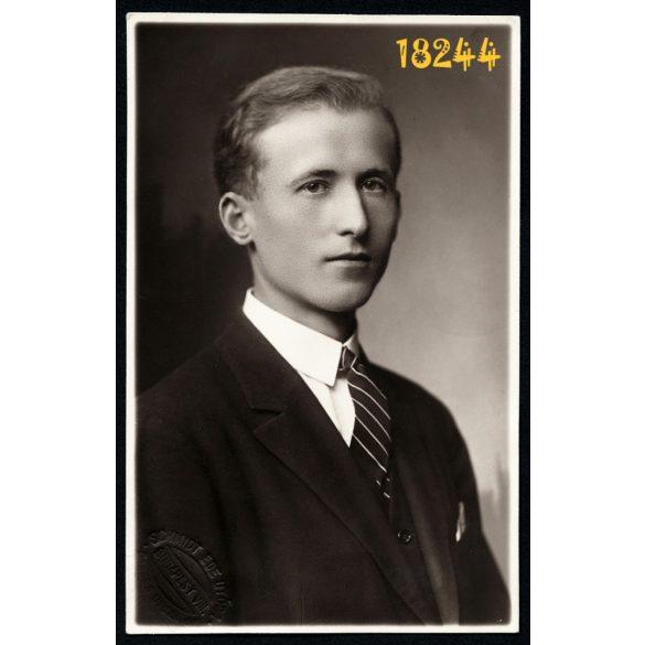 Schmidt műterem, Budapest, elegáns fiú portréja, 1927, 1920-as évek, Eredeti fotó, papírkép.
