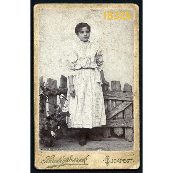 Szabó fivérek műterem, elegáns lány kerítéssel, virágokkal, különös háttér, Budapest, 1900-as évek, Eredeti CDV, vizitkártya fotó.