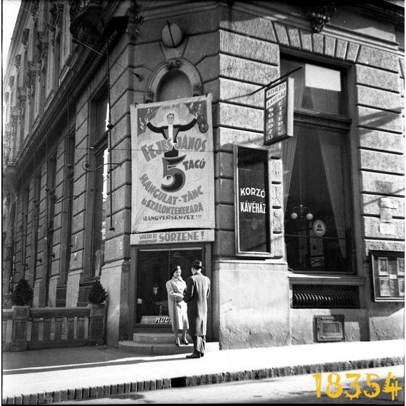 Pécs, Korzó Kávéház Étterem, Fejes János szalonzenekara, hirdetés, vendéglátás, Színház tér, 1930-as évek, Eredeti fotó negatív!