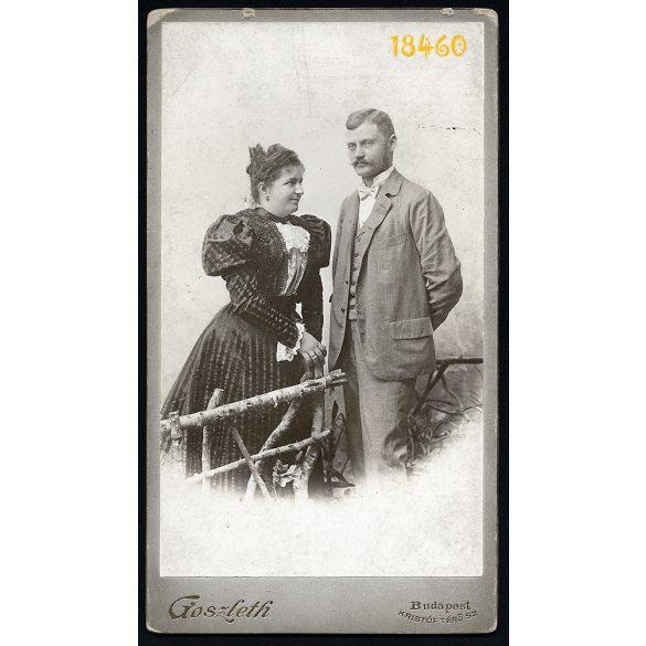 Goszleth István műterme, Hanisch György és neje portréja, különös háttér, nyírfakerítés, bajusz, Budapest, 1890-es évek, Eredeti nagyméretű kabinetfotó.