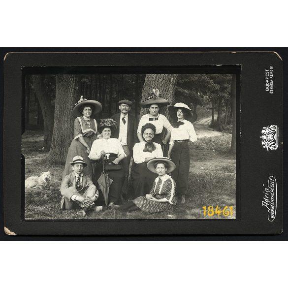 """Breuer Mátyás """"Adria"""" műterem, Máriaremete, elegáns kirándulók, különös kalap, esernyő, kutya, Budapest, 1900-as évek, Eredeti kabinet fotó."""
