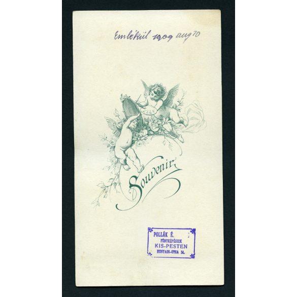 Pollák műterem, Kispest, esküvői kép, menyasszony, vőlegény, virág, bajusz, 1909, 1900-as évek, Eredeti nagyméretű kabinet fotó.