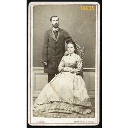 Hess műterem, Temesvár-Lugos, Erdély, elegáns házaspár portréja, 1860-as évek, Eredeti CDV, vizitkártya fotó.