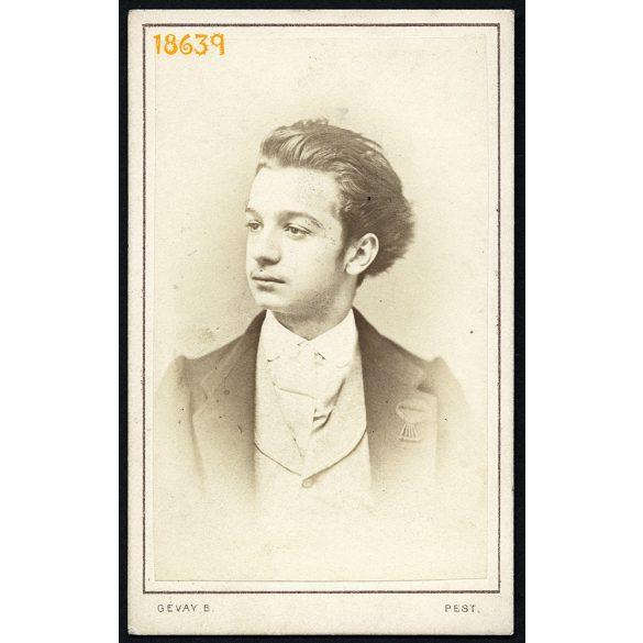 Gévay műterem, Pest, fiatal férfi potréja, 1870, 1870-es évek, Eredeti CDV, vizitkártya fotó.