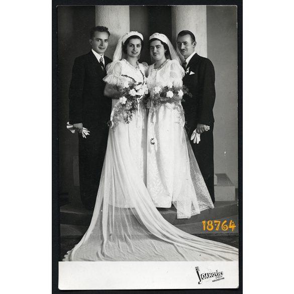 Joanovics utóda műterem, Kolozsvár, Erdély, esküvői párok, menyasszony, vőlegény, ünnep, 1940-es évek, Eredeti fotó, papírkép.