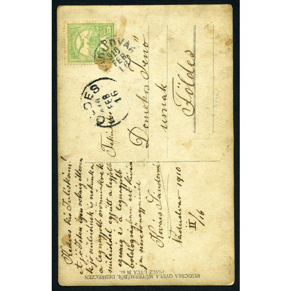 Ruzicska műterem, Debrecen, karcsú hölgy fotó-lapja Nádudvarról Földesre címezve, 1910, 1910-es évek, Eredeti fotó, papírkép.