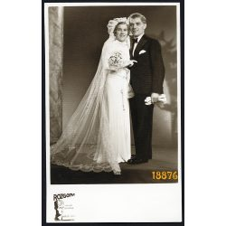 Rozgonyi műterem, Budapest, esküvő, menyasszony, ünnep, elegáns pár,  1937, 1930-es évek, Eredeti fotó, papírkép.   méret megközelítőleg (centiméterben): 8.5 x 13.5