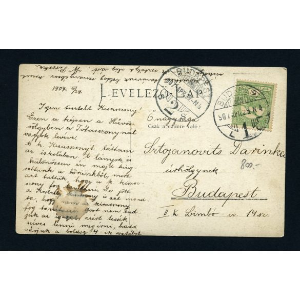 Hűvösvölgy, Tót asszony sírja, fotó-lap Sztojanovits Darinka tanárnőnek címezve, Budapest, 1907, 1900-as évek, Eredeti fotó, papírkép.