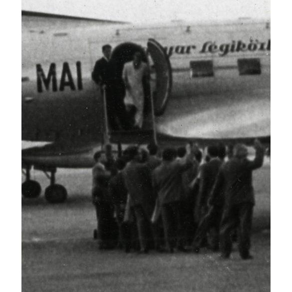 Repülőgép, MALÉV, Il-14, Ferihegy, Budapest, jármű, közlekedés 1950-es évek, Eredeti papírkép.