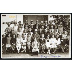 Póth műterem, Szarvas, iskola, lányosztály, matrózblúz, ünnep, 1930-as évek, Eredeti fotó, papírkép.