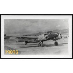 Lockheed R-20-1 repülőgép, magyar bélyegzéssel a hátoldalon, 1930-as évek, Eredeti fotó, papírkép.