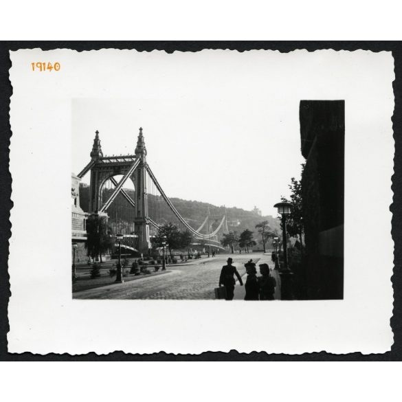 Régi Erzsébet híd, Piarista köz, Duna, városkép, Budapest, 1930-as évek, Eredeti fotó, papírkép.