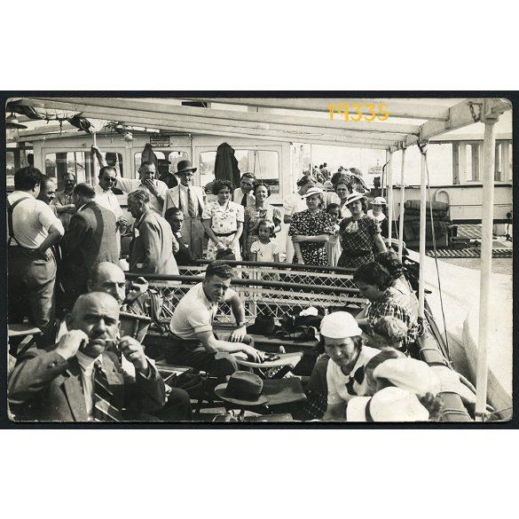 """""""Diskai"""" műterem, hajóút a Dunán, jármű, közlekedés, Budapest, 1930-as évek, Eredeti fotó, papírkép."""