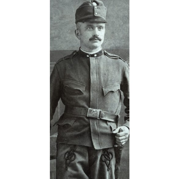 Pick műterem, Lippa, Erdély, K. u. K.  katona egyenruhában, bajonettel, 1910-es évek,  Eredeti CDV, vizitkártya fotó.