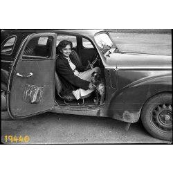 Skoda Tudor személygépkocsi, autó, jármű, közlekedés, hölgy kutyával, 1950-es évek, Eredeti fotó negatív.