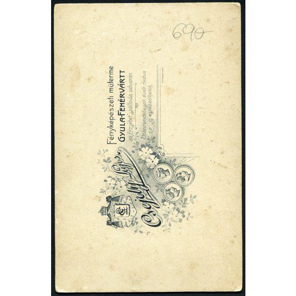Csejdy műterem, Gyulafehérvár, Erdély, elegáns házaspár portréja, különös keretezés, iparvédelmi tulipán jelvény, 1890-es évek, Eredeti kabinet fotó.