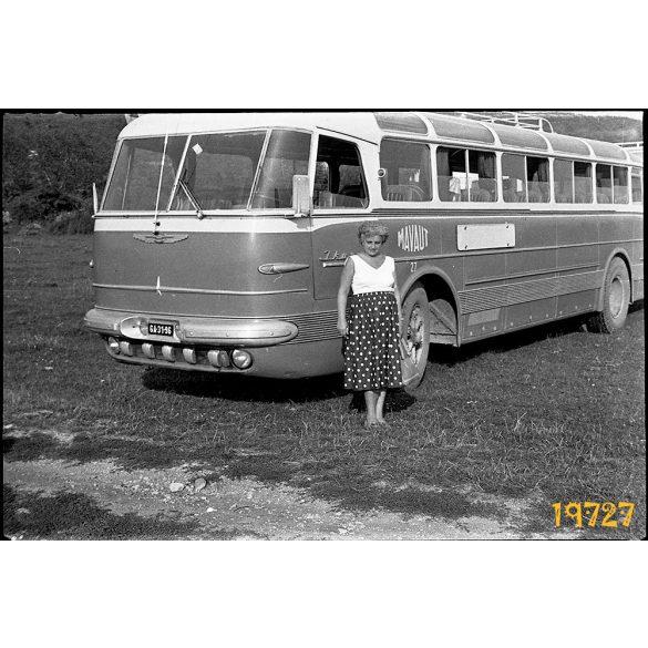 Ikarus 55 korai autóbusz, jármű, közlekedés, 1950-es évek. Eredeti fotó negatív.
