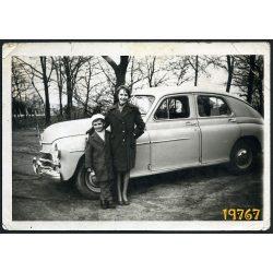 Gyerekek Pobeda GAZ M20 gépkocsival, autó, jármű, közlekedés, Magyarország, 1950-es évek, Eredeti fotó, papírkép.