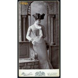 Mai műterem, elegáns hölgy különös kalapban, Budapest, portré, 1890-es évek, Eredeti nagyobb méretű kabinet fotó.