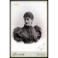 Goszleth műterem, elegáns hölgy portréja, 1890-es évek, szignálva, Eredeti kabinet fotó.