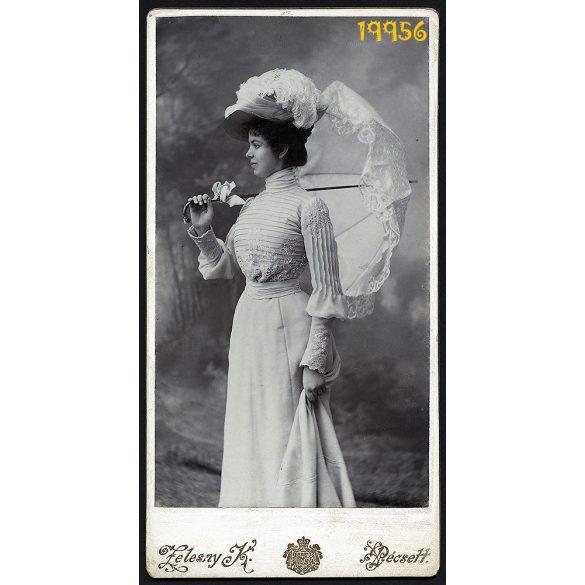 Zelesny műterem, Pécs, elegáns hölgy napernyővel, kalapban, 1890-es évek, Eredeti kabinet fotó.