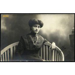 Dunky műterem, Kolozsvár, Erdély, elegáns hölgy portréja, 1910, 1910-es évek, Eredeti fotó, papírkép.