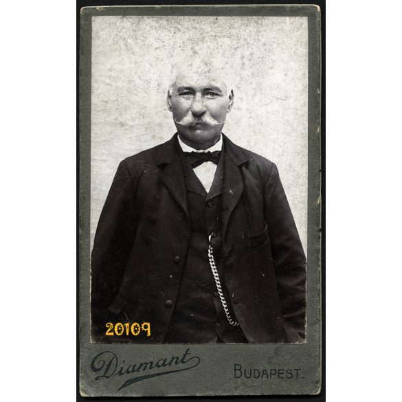 Diamant műterem, bajuszos férfi óralánccal, csokornyakkendőben, Budapest, 1890-es évek, Eredeti CDV, vizitkártya fotó.